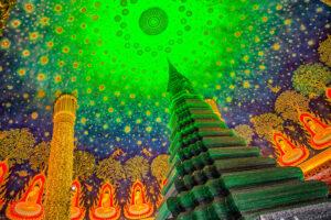 タイバンコクのワットパクナムの緑の塔
