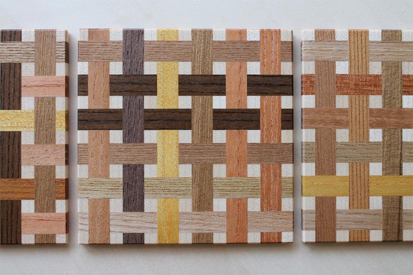 色木編みコースター